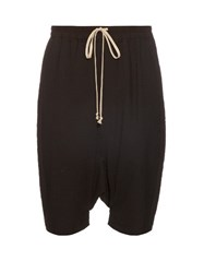 Rick Owens Dropped Crotch Seersucker Shorts Black