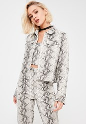 Missguided Galore Grey Snake Print Faux Leather Jacket