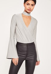 Missguided Grey Choker Neck Wrap Long Sleeve Bodysuit