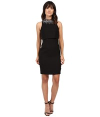 Aidan Mattox Sleeveless Sheath Dress With Popover Top And Beaded Necklace Black Women's Dress