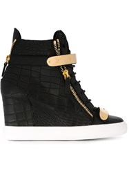 Giuseppe Zanotti Design Wedge Hi Top Sneakers Black