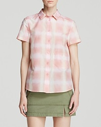 Marc By Marc Jacobs Shirt Blurred Gingham Voile Button Up Piggy Pink Multi