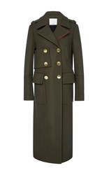 Tibi Olive Maxi Length Wool Coat
