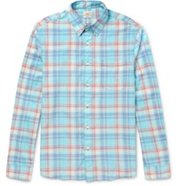 Faherty Ventura Checked Cotton Shirt Blue