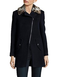 Rebecca Taylor Solid Wool Blend Jacket Navy