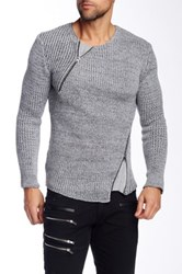 Ron Tomson Asymmetric Zip Fitted Knit Sweater Gray