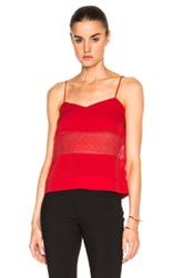 Yigal Azrouel Lace Insert Cami Top In Red