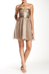 Aidan Mattox Strapless Pleather Bodice Cocktail Dress Metallic