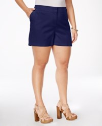 Stoosh Plus Size Textured Sailor Shorts Navy