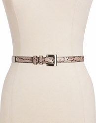 Fashion Focus Python Embossed Belt Natural Silver
