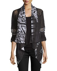 Alberto Makali Mixed Print Tab Sleeve Cardigan Black White