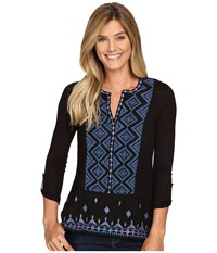 Lucky Brand Embroidered Top Black Multi Women's Clothing