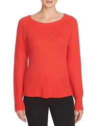 1.State Knit Peplum Sweater Scarlet
