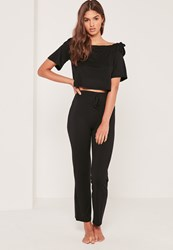 Missguided Bardot Pj Set Black