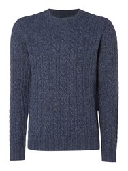 Criminal Men's Ash Cable Crew Neck Jumper Denim Marl
