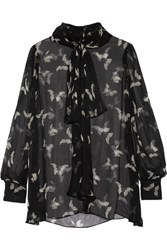 Alexander Mcqueen Pussy Bow Printed Silk Crepon Blouse Black