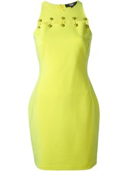 Versus Logo Pin Fitted Dress Yellow And Orange