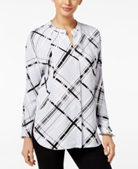 Alfani Prima Printed Dolman Sleeve Blouse Only At Macy's Light Blue