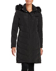 Calvin Klein Faux Fur Trimmed Hooded Long Quilted Down Coat Black