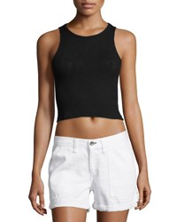 Rag And Bone Highland Ribbed Knit Crop Top Black