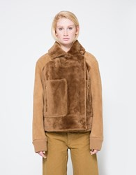 Tibi Shearling Aviator Jacket Bear Brown
