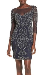 Pisarro Nights Women's Beaded Mesh Sheath Dress