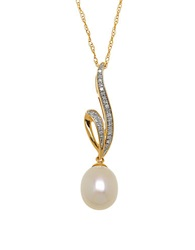 Lord And Taylor 8 10Mm White Freshwater Pearl Diamond And 14K Yellow Gold Ribbon Pendant Necklace