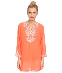 Kas Purity Embroidered Tunic Coral Women's Blouse