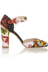 Dolce And Gabbana Printed Brocade Pumps Red