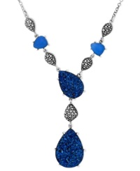 Genevieve And Grace Sterling Silver Necklace Blue Druzy And Blue Agate Y Necklace