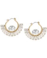 Inc International Concepts Gold Tone Crystal Baguette Hoop Earrings Only At Macy's