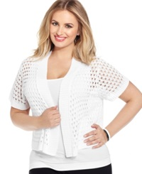 Ny Collection Plus Size Cropped Open Knit Shrug White