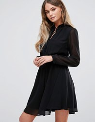New Look Shirred Pleated Neck Tie Dress Black
