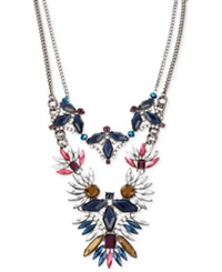 Macy's Haskell Hematite Tone Multi Color Crystal And Bead Geometric Frontal Necklace Multicolor