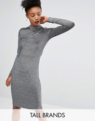 Y.A.S Tall Lisa Long Sleeve Bodycon Dress In All Over Metallic Fabric Silver Grey