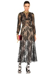 Alessandra Rich Peonia Lace Dress With Gold Macrame Chain In Black