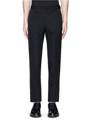 Givenchy Curb Chain Side Stripe Virgin Wool Pants Black