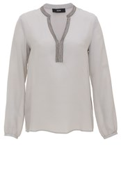 Hallhuber Silk Tunic Blouse With Metallic Beads Light Grey