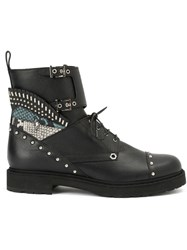 Fendi Studded Combat Boots Black