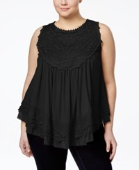 American Rag Plus Size Crochet Swing Top Only At Macy's Classic Black
