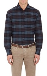 Barneys New York Men's Plaid Cotton Shirt Burgundy