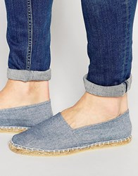 Asos Canvas Espadrilles In Blue Chambray Blue