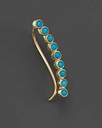 Zoe Chicco 14K Yellow Gold Ear Cuff With Turquoise Right Gold Blue