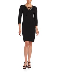 Calvin Klein Lace Up Three Quarter Sleeve Bodycon Dress Black