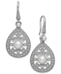 Macy's Cultured Freshwater Pearl 2 1 2Mm And Diamond Accent Earrings In Sterling Silver Black