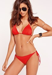 Missguided Tie Side Bikini Bottoms In Red Mix And Match Red