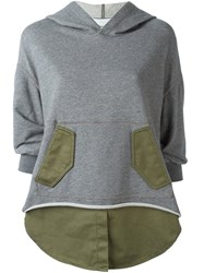3.1 Phillip Lim Shirt Tail Hoodie Grey