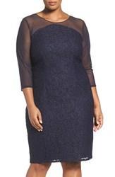 Adrianna Papell Plus Size Women's Lace And Mesh Sheath Dress