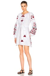 March 11 Kilim Mini Dress In White Red Abstract White Red Abstract