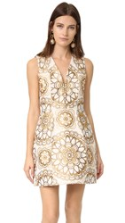 Alice Olivia Pacey V Neck Lantern Dress Cream Gold